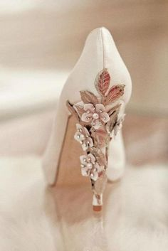 Flower embellished heel. Perf with a tea-length gown.