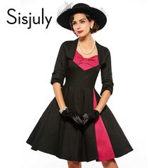 Sisjuly women vintage dress half sleeve 1950s rockabilly festa dresses black party autumn dresses patchwork winter vintage dress