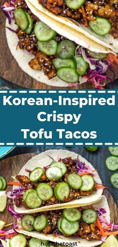 These tofu tacos for great for your vegan and vegetarian friends. These tofu tacos are Korean-inspired and made with lots of fresh foods. Click here for the recipe!