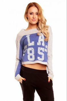 Κοντή αθλητική μπλούζα Sublevel με print - Μπλε Graphic Sweatshirt, T Shirt, Crop Tops, Sweatshirts, Sweaters, Women, Fashion, Moda, Tee Shirt