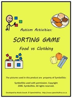 FREE CATEGORIZATION SORTING GAME AT MY TPT STORE: Autism Activities: Sorting Food vs Clothing Autism Blogs, Autism Education, Autism Classroom, New Classroom, Special Education, Classroom Ideas, Motor Skills Activities, Educational Activities For Kids, Autism Activities