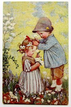 U/S Susan Pearce CHILDREN & Daisies M.M. Vienne Postcard | eBay