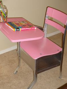 Tornado Alley Creations: Before and After- Antique School Desk Redo - School Uniform Painted School Desks, School Desk Makeover, Old School Desks, School Chairs, Old Desks, School Tables, Antique School Desk, Antique Desk, Vintage School