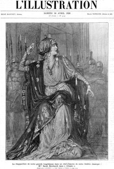 1920 Original Vintage L'Illustration Parisian French Newspaper Cover Engraving Famous Theatre Actress Sarah Bernhardt in Athalie by J.Racine