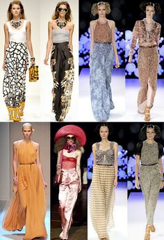 Designer work inspired by 1960s fashion- Palazzo pants and decorative pantsuits with full legged trousers were popular during the late 1960s for entertaining at home or for formal occasions. Currently, these styles are back in fashion as you can see from these runway photos.