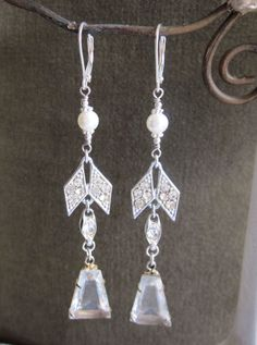Wear these beauties with jeans or a little black dress - either way you are sure to get lots of compliments.  These oh so pretty, elegant vintage assemblage earrings are a long chandelier style and One of a Kind by jryendesigns.etsy.com