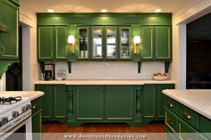 My Finished Kitchen Remodel!  (Before & After) - green and gold painted cabinets, diy poured in place concrete countertops w/ ogee edge, sink in peninsula, GE Artistry fridge