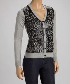 Take a look at this Gray & Black Floral Sweater by ELIO on #zulily today!
