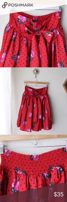 Vintage Red Polkadot Floral Skirt Beautiful vintage skirt, color is still very bright. Elastic back, it's a little too big for me and I wear a small. Skirts Midi