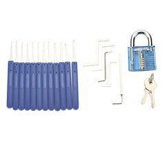 12pcs Unlocking Lock Pick Set Key Extractor Tool with Blue Practice Padlocks Lock Pick Tools. materiales de construccion