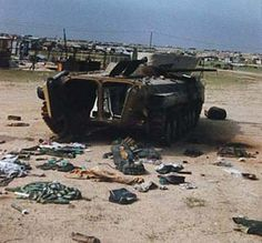 Route to Basra, recent addition on it, a knocked out BMP-1.