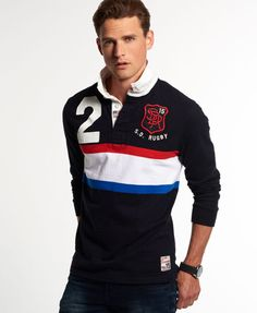 Superdry pays homage to authentic rugby style and national team spirit with the exclusive World Legends collection of shirts. Polo Rugby Shirt, Rugby Shirts, Men's Business Outfits, Ralph Lauren Style, Camisa Polo, Long Sleeve Polo, Well Dressed Men, Men Looks, Swagg