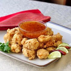 Double Crunch Popcorn Shrimp with Chili Lime Dipping Sauce Happy Superbowl Sunday! Here's a recipe perfect for game day snacking. The shrimp pieces get double dipped in a ginger spiced flour dredge before being lightly fried to a golden brown. The dip couldn't be easier to make and combines the sweetness of honey with tangy …