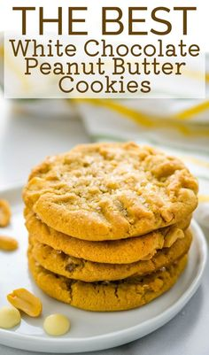 My husband LOVES peanut butter, so I wanted a peanut butter cookie that would knock his socks off. This recipe is the best I've tried. The cookies are soft and chewy, with chunks of white chocolate chips and crunchy chopped peanuts. A little sparkling sugar over the dome adds an extra little crunch. He loves to dunk these in milk for dessert! Peanut Butter White Chocolate, Best White Chocolate, Chunky Peanut Butter, Chocolate Peanut Butter Cookies, White Chocolate Chips, Homemade Chocolate, Chocolate Recipes, Best Homemade Cookie Recipe, Best Cookie Recipes