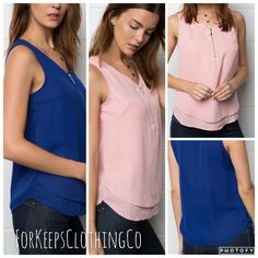 ROYAL BLUE or ROSEY PINK  Layered zipper tank, 100% polyester. Can dress up or down. Super cute!! Sizing: Order a size up!! Runs small.  Small fits 0-2  Medium fits 4-6  Large fits 8-10 (both colors sold out in L) | Shop this product here: spreesy.com/Forkeepsclothingco/2 | Shop all of our products at http://spreesy.com/Forkeepsclothingco    | Pinterest selling powered by Spreesy.com