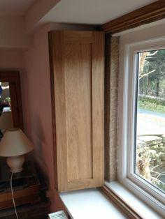 Oak Wooden Internal Panel Window Shutters   Bespoke Solid Oak Shaker  Traditional