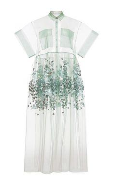 Blue Print Embroidered Bobbinet Tulle Dress by DELPOZO for Preorder on Moda Operandi