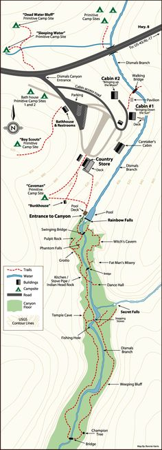Map/Layout of Dismals Canyon....a beautiful secret found in northwest Alabama