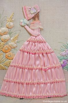 Vintage Home - 1940s Embroidered and Appliqued Crinoline Lady: www.vintage-home.co.uk