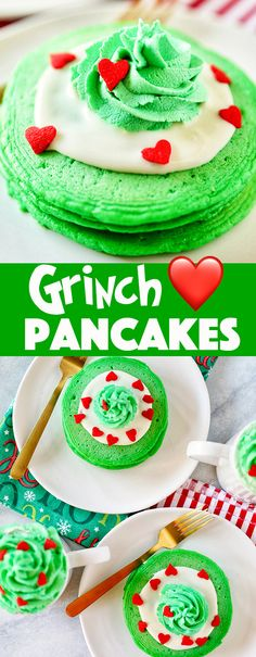 Grinch Pancakes Grinch Pancakes – homemade green buttermilk pancakes with cream cheese frosting, green whipped cream, and red heart sprinkles. These are even better than the IHOP Grinch pancakes! Best Christmas Desserts, New Year's Desserts, Cute Desserts, Holiday Recipes, Dessert Recipes, Christmas Breakfast, Christmas Ideas, Christmas Baking, Holiday Treats