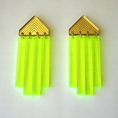 Neon Arrow Fringe Earrings Laser Cut Gold Green by FabParlor, $12.00