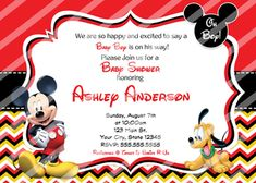 Mickey Mouse Baby Shower Invitations Pluto