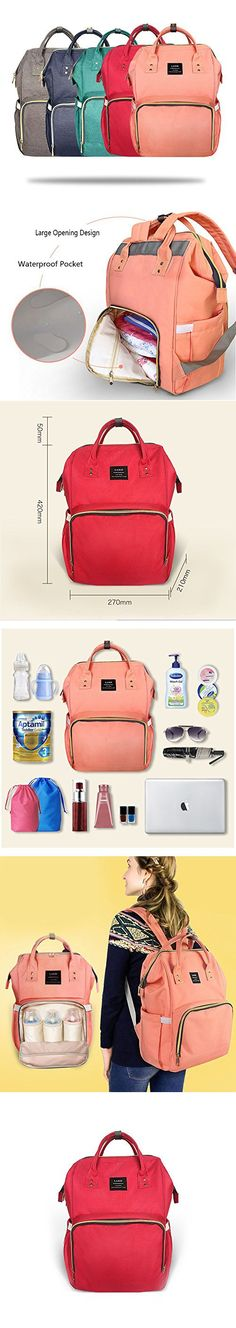 Huluwa Diaper Bag Multi-Function Waterproof Travel Backpack Nappy Bags for Baby Care, Large Capacity, Stylish and Durable, Red