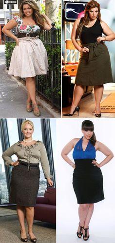 Carla Lopez - Beauty Rock: Moda para Gordinhas - Saiba como se vestir bem. SAIAS. Na hora de escolher a saia, escolha peças que tenham o cós mais alto, porque eles escondem a barriga. Os modelos drapeados também são uma boa pedida: eles desviam o olhar da flacidez. Aposte em saias nos modelos evasê, que disfarçam os quadris sem marcá-los. Mulheres que estão acima do peso em geral têm pernas muito bonitas.