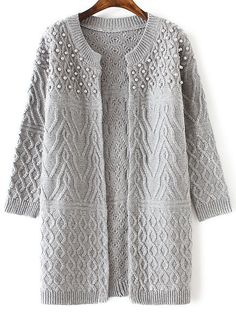 Shop Grey Cable Knit Beaded Long Sweater Coat online. SheIn offers Grey Cable…