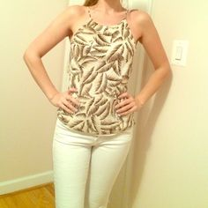 Ann Taylor Tank Beautiful light colored top, size 2, worn 1-2 times. Ann Taylor Tops Tank Tops