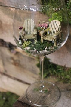 Tiny Garden Wine Glass Terrarium