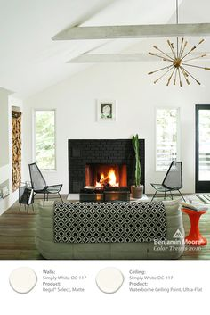 A few accents and Benjamin Moore's Color of the Year, 'Simply White,' are all you need for this minimalist look. This home's angles and edges become sharply defined as white is cut with black. #ColorTrends2016