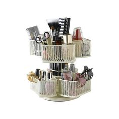Organize your vanity with this versatile cosmetic carousel, showcasing multiple compartments to effortlessly locate nail polish, hair bands, and your favorit...