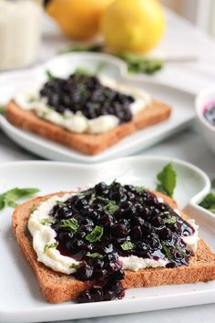 Lemon Ricotta with Wild Blueberry Sauce-Lightly sweetened creamy lemon ricotta on toast topped with sweet juicy wild blueberry sauce, sprinkled with mint. Sumptuosity on a plate. Breakfast And Brunch, Breakfast Ideas, Ricotta, Toast Toppers, Marinated Salmon, Blueberry Sauce, Wild Blueberries, Delicious Fruit, Brunch Recipes