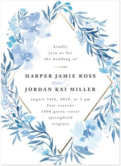 A floral inspired poetic blue wedding invitation by Minted artist Qing Ji… Garden Wedding Invitations, Wedding Invitation Design, Wedding Stationary, Blue Wedding Stationery, Invitation Floral, Watercolor Wedding Invitations, Invitation Ideas, Watercolour Invites, E Invite