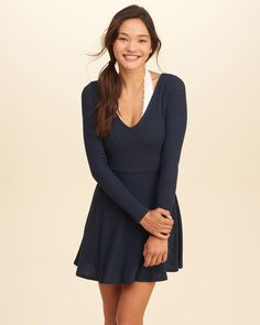 Girls Long-Sleeve Ribbed Skater Dress | Girls Dresses & Rompers | HollisterCo.com
