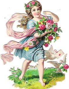 Oblaten Glanzbild scrap die cut chromo Blumen Kind flowerchild Taube dove pigeon