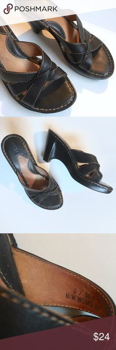 Born leather heeled sandals Very good condition. Super comfortable. True to size. No flaws. Add this to a bundle save 15%. Born Shoes Sandals