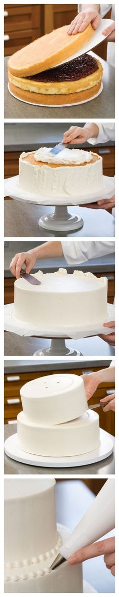 Take a look at the best diy wedding cake in the photos below and get ideas for your wedding! The wedding cake vs. Image source We've Got the Secrets to Making a DIY Homemade Wedding Cake. Cake Decorating Techniques, Cake Decorating Tutorials, Cookie Decorating, Decorating Cakes, Decorating Supplies, How To Make Wedding Cake, How To Make Cake, Diy Wedding Cake, Wedding Cake Recipes