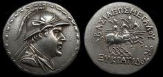 Eukratides I (171-145 B.C.) Silver Tetradrachm, Coins, Greek Hellenistic…