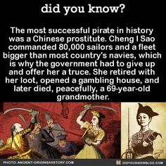 Chinese WOMAN, who was once a prostitute but who went on to be the most successful pirate in history