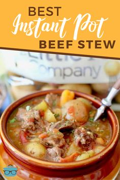The Best Instant Pot Beef Stew really is the best ever and so easy! Its thick and stuffed full of beef potatoes carrots onion and celery! Perfect comfort food for any winter night! Slow Cooker Desserts, Best Pressure Cooker, Pressure Cooker Recipes, Pressure Cooking, Crockpot Recipes, Cooking Recipes, Healthy Recipes, Soup Recipes, Cheap Meals