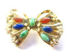 Fabulous Mulit-Colored Cabochon Goldtone BOW Vintage Estate BROOCH Pin