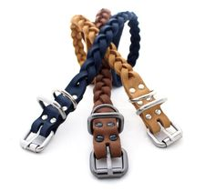 Leather dog collar Genuine Leather braided collar middle dog