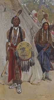Henry F. Farny (1847-1916) Summoned by the War Chief signed and dated '-H.F. Farny-/-1900-' and inscribed with title (lower right) watercolor and gouache on paper laid down on board 40 x 21 ¾ in. (101.6 x 55.2 cm.)