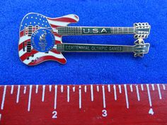 "JUMBO 3"" Patriotic American Flag Olympic Games Double Neck Guitar Lapel Pin Olympic Games, Lapel Pins, American Flag, Olympics, Guitar, Ebay, American Fl, American Flag Apparel, Guitars"