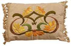 Arts and Crafts embroidered pillow. Halloween Arts And Crafts, Arts And Crafts For Teens, Art And Craft Videos, Arts And Crafts House, Crafts For Boys, Home Crafts, Craftsman Living Rooms, Craftsman Style Bungalow, Art Nouveau