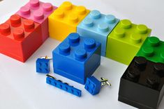 LEGO® Brick Cufflinks, Tie Clip & LEGO Box- Blue, Black, Red, Yellow, Green- Groomsmen Gift Page Boy Gift, LEGO Jewellery Man