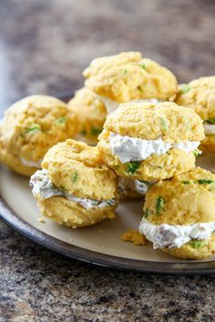 Jalapeno Cornbread Whoopie Pies with Bacon Goat Cheese | They're the perfect grab and go appetizer for entertaining.