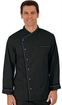 Traditional Fit Folded Cuff Chef Coat - Fabric Covered Buttons - 65/35 Poly/Cotton